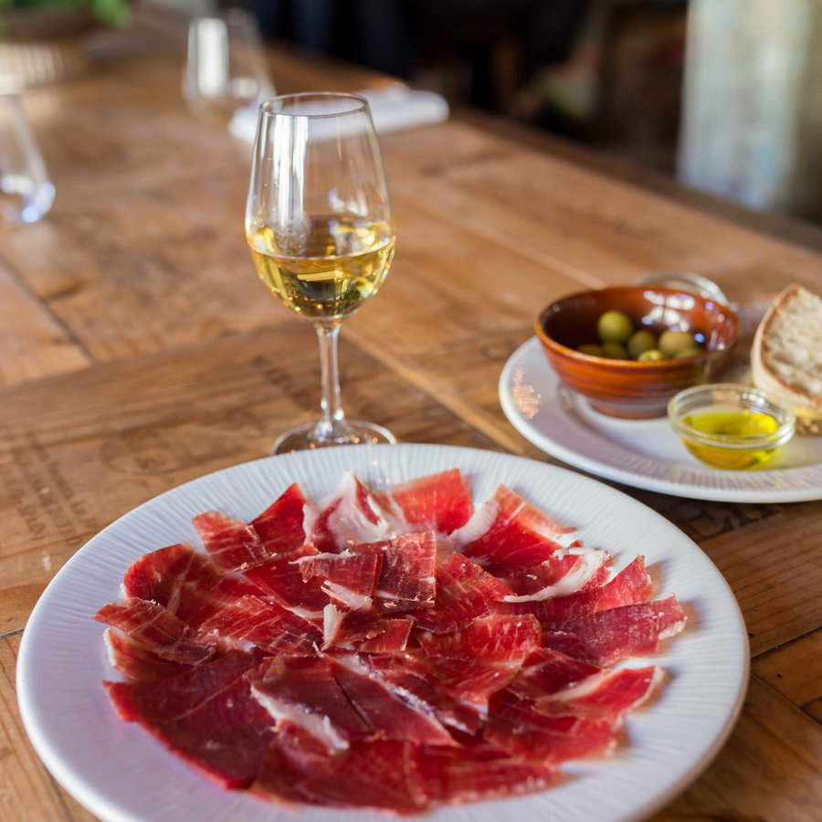 Jamon, wine & olives.JPG